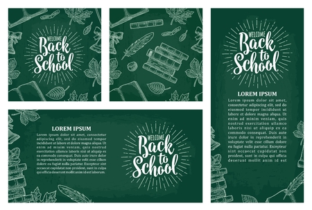Horizontal, vertical posters and pattern with leaf, book, bell and lettering Welcome Back to School.