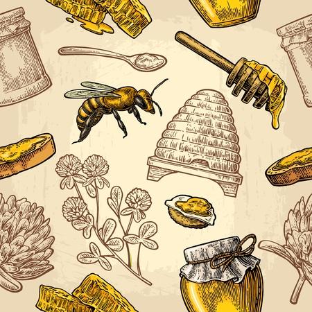 Modèle sans couture avec miel, abeille, ruche, trèfle, cuillère, craquelin, pain et nid d'abeille.