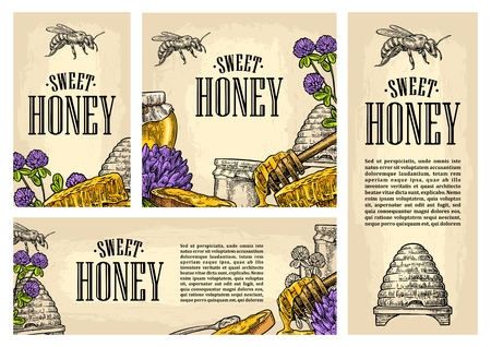 Set horizontal, vertical and square and posters with honey, honeycomb, jar, spoon, bee.