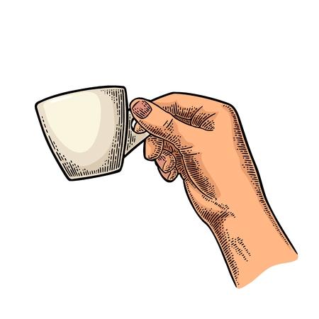 Mano sosteniendo una taza de café. Ilustración de grabado de vector de color vintage para etiqueta, web, flayer. Aislado en el fondo blanco Foto de archivo - 84443804