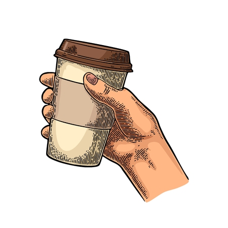 Hand holding a disposable cup of coffee with cardboard holder and cap. Vintage color vector engraving illustration for label, web, flayer. Isolated on white background