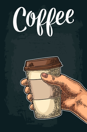 Hand holding a disposable cup of coffee with cardboard holder and cap. Illustration