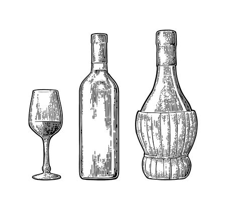 ワイングラス、古典的な編みこみのボトル。ビンテージ カラー彫刻ベクトル