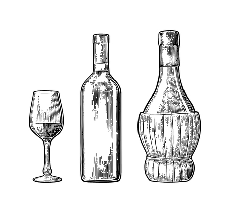 Wine glass, classic and braided bottle. Vintage color engraving vector Ilustração