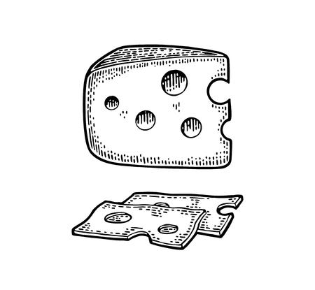 Stukken kaas en mes. Halfronde kop en driehoek van kaas.