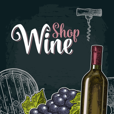 Square wine label or poster. Wine Shop lettering.