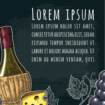 Square wine label or poster. Braided bottle, cheese, bunch of grapes