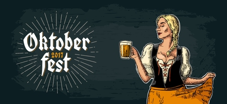 Young sexy Oktoberfest girl dirndl dancing and holding beer mug. Illustration