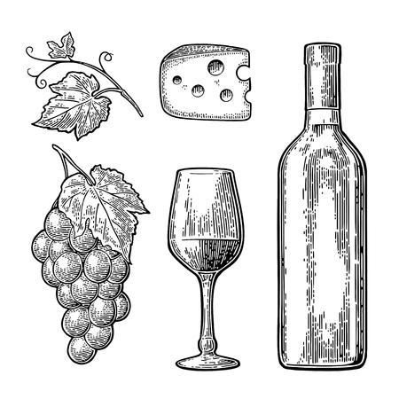 Set di vini. Bottiglia, vetro, formaggio, grappolo d'uva Archivio Fotografico - 85124137