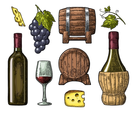 Wine set. Bottle, glass, barrel, cheese, bunch of grapes