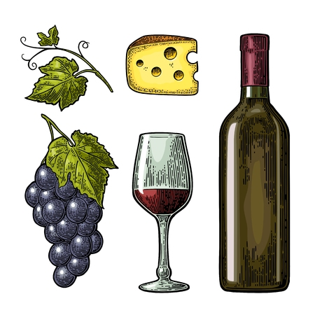 Wine set. Bottle, glass, cheese, bunch of grapes