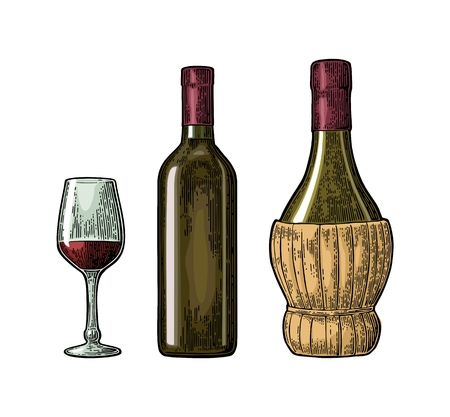 Wine glass, classic and braided bottle. Vintage color engraving vector Illustration