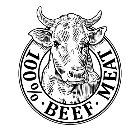 Cows head. 100 % beef meat lettering. Vintage vector engraving