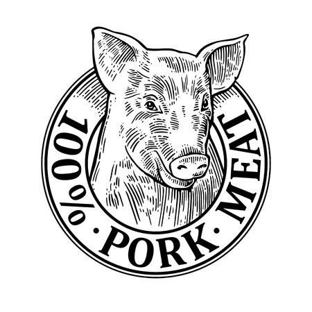 Cows head. 100 percent pork meat lettering. Hand drawn in a graphic style. Vintage black vector engraving illustration for label, poster, logotype. Isolated on white background