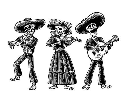 Dag van de Doden. Het skelet in de Mexicaanse nationale kostuums dans, zing en speel gitaar, viool, trompet. Vector handgetekende vintage gravure geïsoleerd op een witte achtergrond