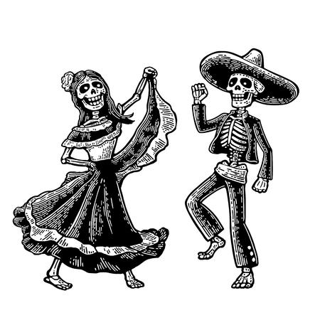 Giorno della morte. Lo scheletro dei costumi nazionali messicani cantano e ballano. Incisione a mano vintage disegnata a mano per poster, etichetta. Isolato su sfondo bianco Archivio Fotografico - 85366409