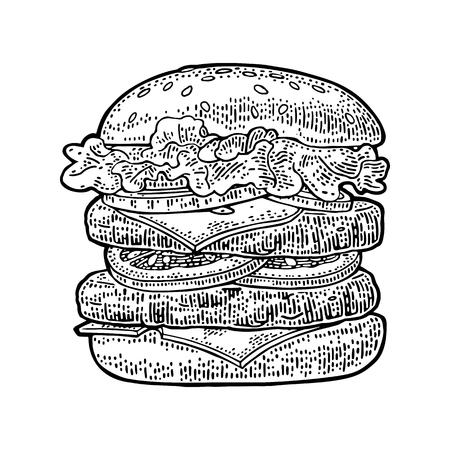 Hamburguesa doble incluyen la chuleta, el tomate, el pepino y la ensalada aislados en el fondo blanco. Ilustración negra del grabado de la vendimia del vector para el cartel y el menú. Foto de archivo - 85343716