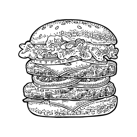 Double burger include cutlet, tomato, cucumber and salad isolated on white background. Vector black vintage engraving illustration for poster and menu.