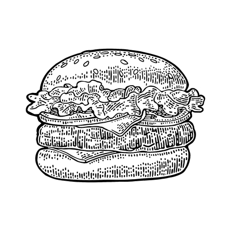 Classic burger include cutlet, tomato, cucumber and salad isolated on white background. Vector black vintage engraving illustration for poster and menu. Ilustracja