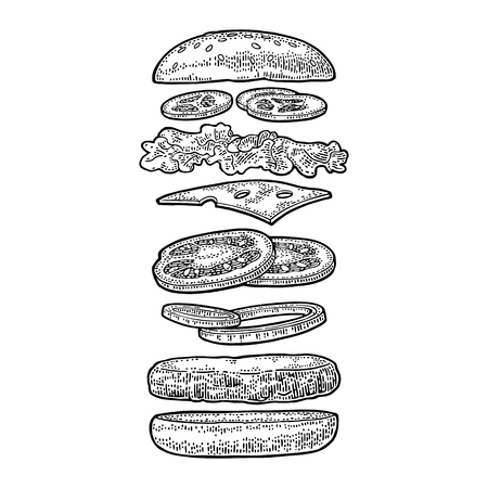 Burger with flying ingredients include bun, tomato, salad, cheese, onion, cucumber. Vector black vintage engraving Illustration isolated on white background. For vertical poster, menu, banner.