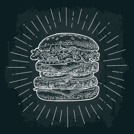 Double burger include cutlet, tomato, cucumber and salad with rays. Vector white vintage engraving illustration on dark chalkboard. For poster and menu. Illustration