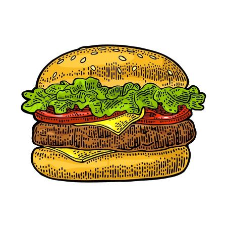 古典的なハンバーガーには、カツレツ、トマト、キュウリ、白い背景で隔離のサラダが含まれます。ベクトル色ビンテージ ポスターやメニューの図