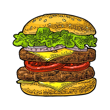 Double burger include cutlet, tomato, cucumber and salad isolated on white background. Vector color vintage engraving illustration for poster and menu