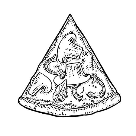 ピザ カプリチョーザをスライスします。平面図です。ポスター、メニューのボックスのイラストを彫刻する描画ビンテージ ベクトル。白い背景に分