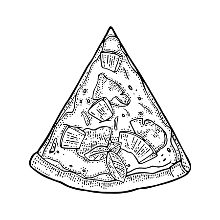 Trancher la pizza hawaïenne. Vue de dessus Illustration de gravure dessinée vector Vintage pour affiche, menu, boîte. Isolé sur fond blanc Banque d'images - 85650630