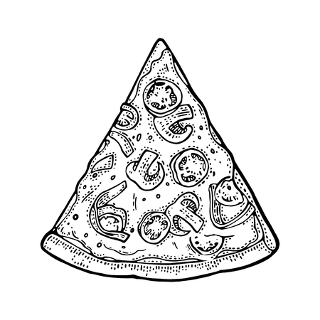 Slice pizza mexican. Top view. Vintage vector drawn engraving illustration for poster, menu, box. Isolated on white background