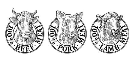 Honderd procent rundvlees, varkensvlees en lamsvlees briefpapier hand getekend in een grafische stijl.