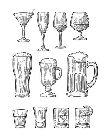 Set van vintage glazen illustratie geïsoleerd op een witte achtergrond Stock Illustratie