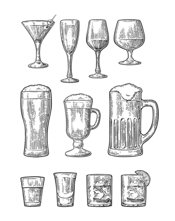 Set of vintage glass illustration isolated on white background Illustration