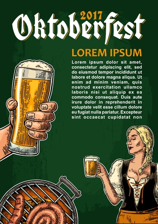 Vertical poster to oktoberfest festival. Young sexy girl wearing Bavarian dress dirndl dancing. Hand holding beer mug, barbecue grill. Vintage color vector engraving illustration on dark background Иллюстрация