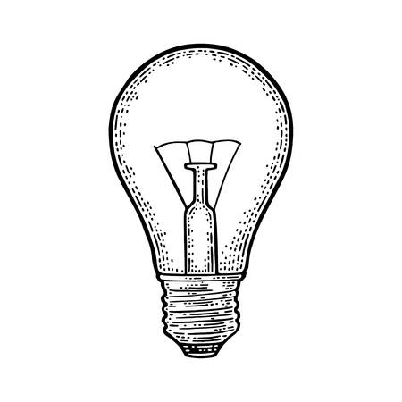 Glowing light incandescent bulb. Vector vintage black engraving illustration on white background