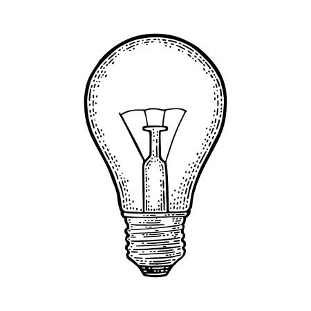 Glowing light incandescent bulb. Vector vintage black engraving illustration on white background