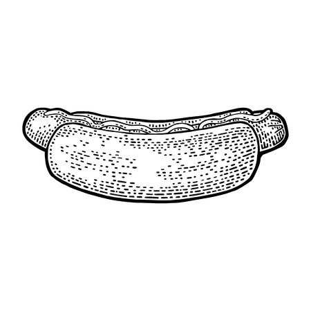hot dog: Hotdog with mustard. Side view. Vector black vintage engraving illustration for poster, menu, web. Isolated on white background. Illustration