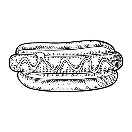 Hotdog with mustard. Top view. Vector black vintage engraving illustration for poster, menu, web. Isolated on white background.