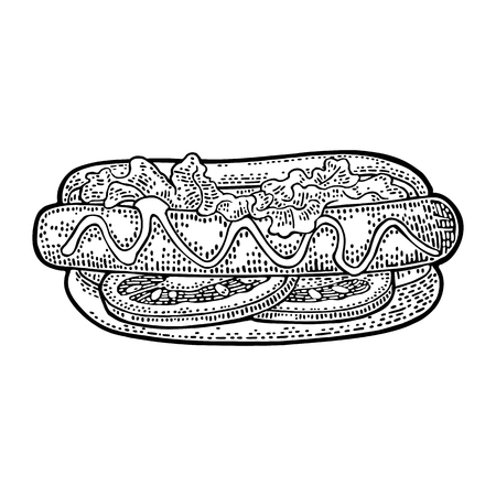 Hotdog with tomato, mustard, leave lettuce. Top view. Vector black vintage engraving illustration for poster, menu, web. Isolated on white background. Illustration