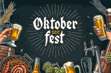Horizontal poster for oktoberfest festival. Beer set with tap, glass, bottle, hop branch with leaf, barrel. Vintage vector color engraving illustration isolated on dark background