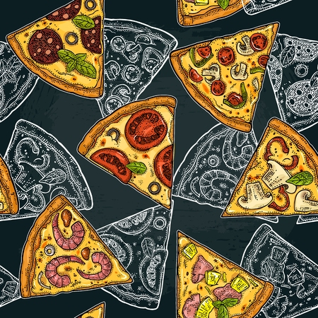 Seamless pattern slice pizza Pepperoni, Hawaiian, Margherita, Mexican, Seafood, Capricciosa. Vintage vector color and white engraving illustration for poster, menu, box. Isolated on dark background