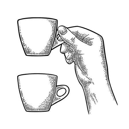 Hand holding a cup of coffee. Vintage black vector engraving illustration for label, web, flayer. Isolated on white background Ilustração