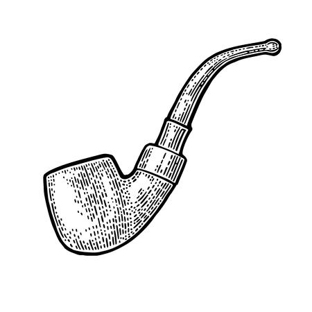 Pijp. Vector gravure uitstekende zwarte illustratie die op witte achtergrond wordt geïsoleerd.