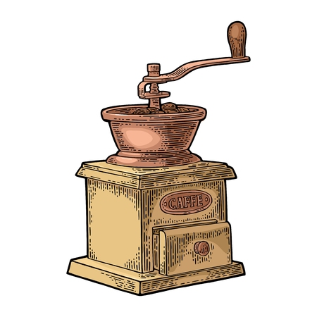 Coffee mill. Hand drawn sketch style. Vintage color vector engraving illustration for label, web. Isolated on white background. Çizim