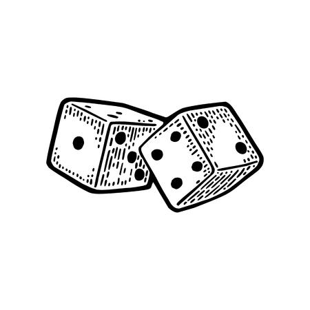 Twee witte dobbelstenen. Vintage zwarte vector gravure illustratie. Geïsoleerd op witte achtergrond Stock Illustratie