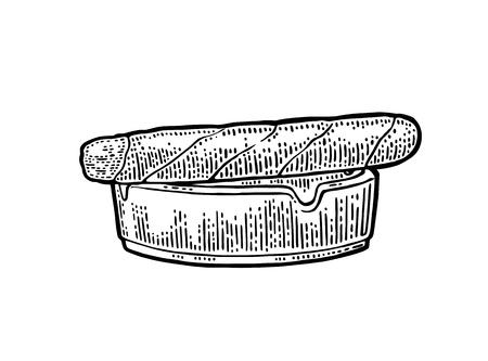 Sigaar en asbak. Vector uitstekende gravure zwarte illustratie die op witte achtergrond wordt geïsoleerd. Stockfoto - 86204943