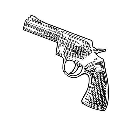 짧은 총알과 총알이있는 리볼버. 벡터 일러스트 레이 션 빈티지 삽화. 흰색 배경에 고립. 문신, 웹, 사격 클럽 및 라벨 들어