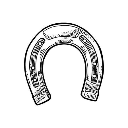 Horseshoe. Vintage black vector engraving illustration for info graphic, poster, web. Isolated on white background.