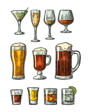 Set glass beer, whiskey, wine, gin, rum, tequila, cognac, champagne, cocktail. Vector engraved color vintage illustration isolated on white background Illustration
