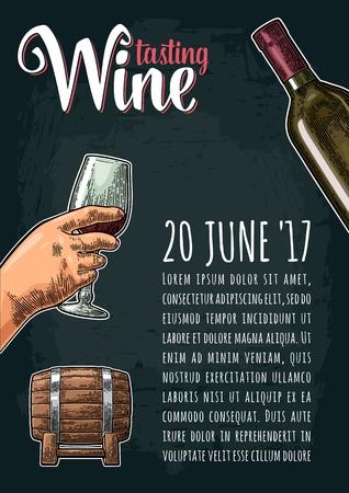 Vertical poster. Wine tasting lettering. Hand drawn sketch female hand holding a glass, bottle, barrel. Vintage color and monochrome engraving vector illustration on dark background.